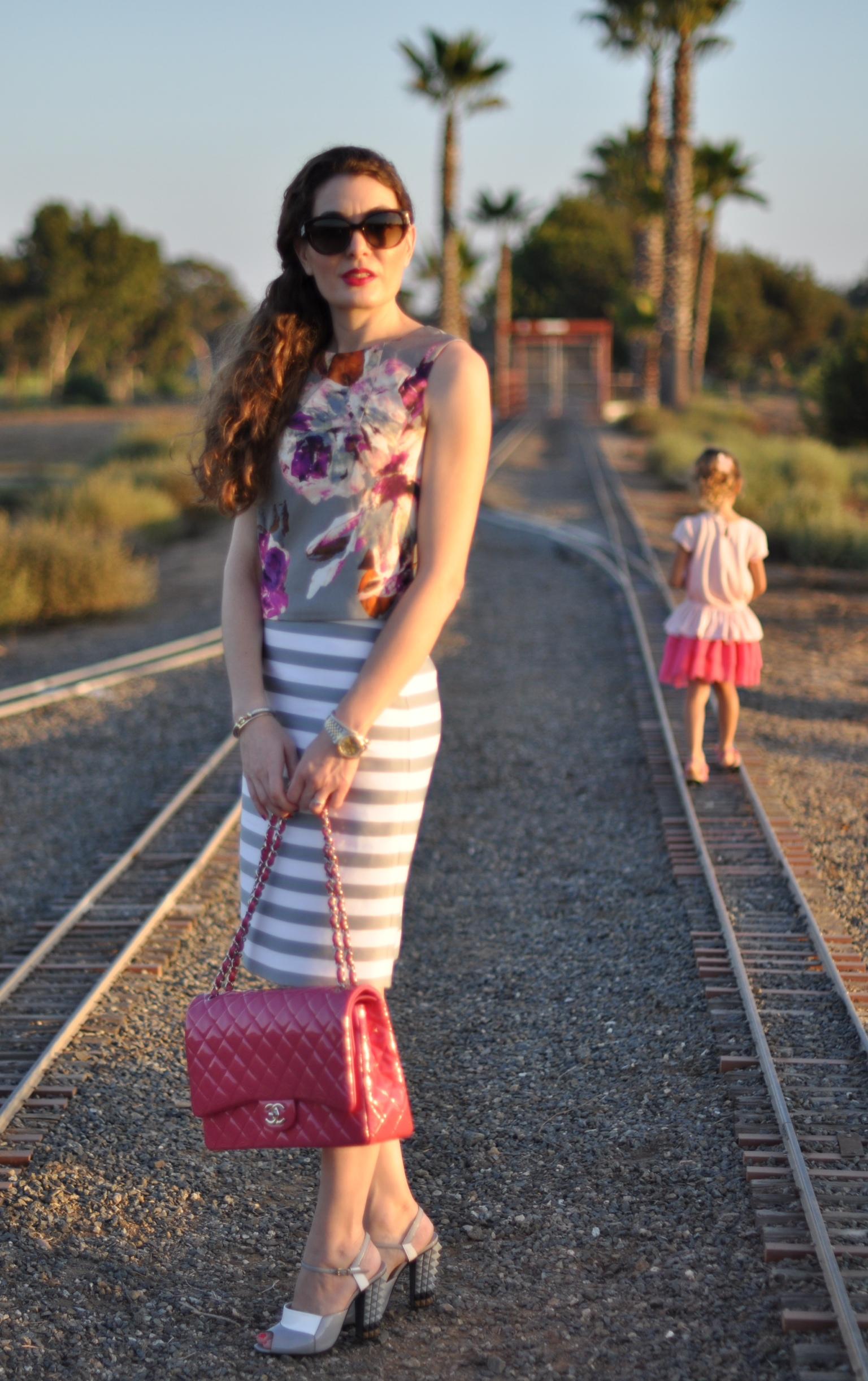 Trina Turk top, Kate spade Skirt, Dior Sunglasses, Fendi shoes, Chanel handbag, Fashion blog