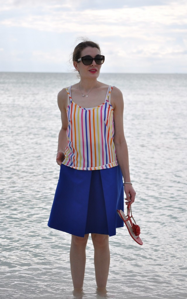 Tibi Skirt, Asos striped top, Valentino sandals, john hardy bracelet, fashion blog, high heels and tutus, ootd