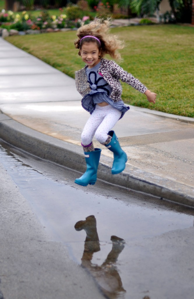 Gap cardigan, Hunter kids rainboots, Little MIss Matched socks, Gymboree leggings, Rainy day, puddle jumping, High Heels and Tutus