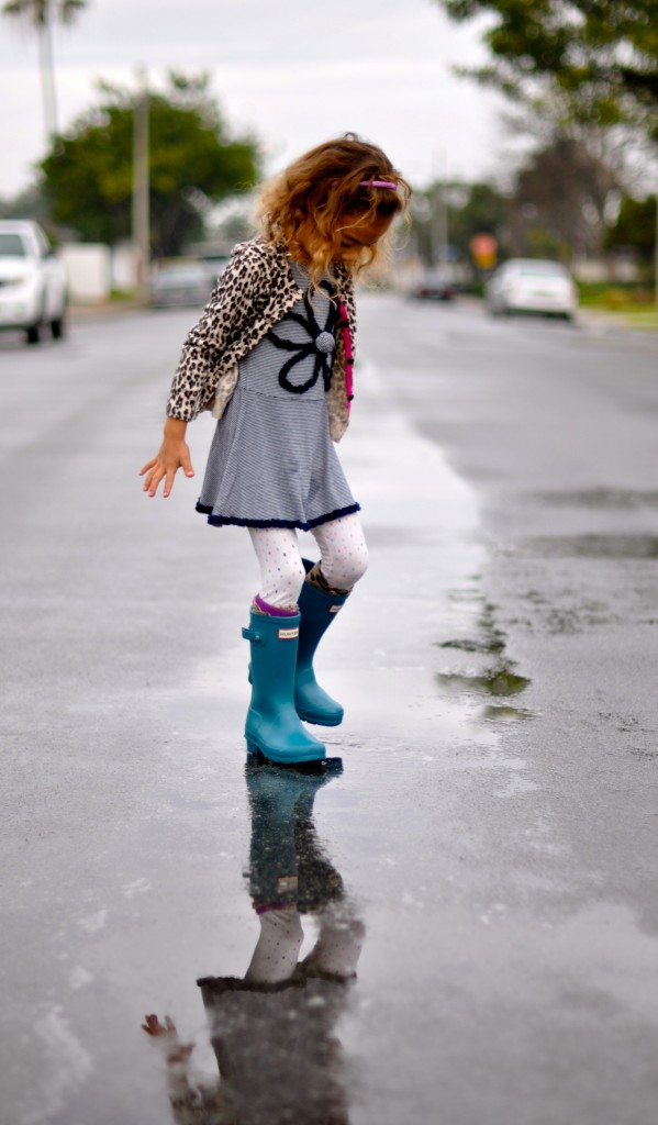 Gap cardigan, Hunter kids rainboots, Little MIss Matched socks, Gymboree leggings, Rainy day, puddle jumping, High Heels and Tutus
