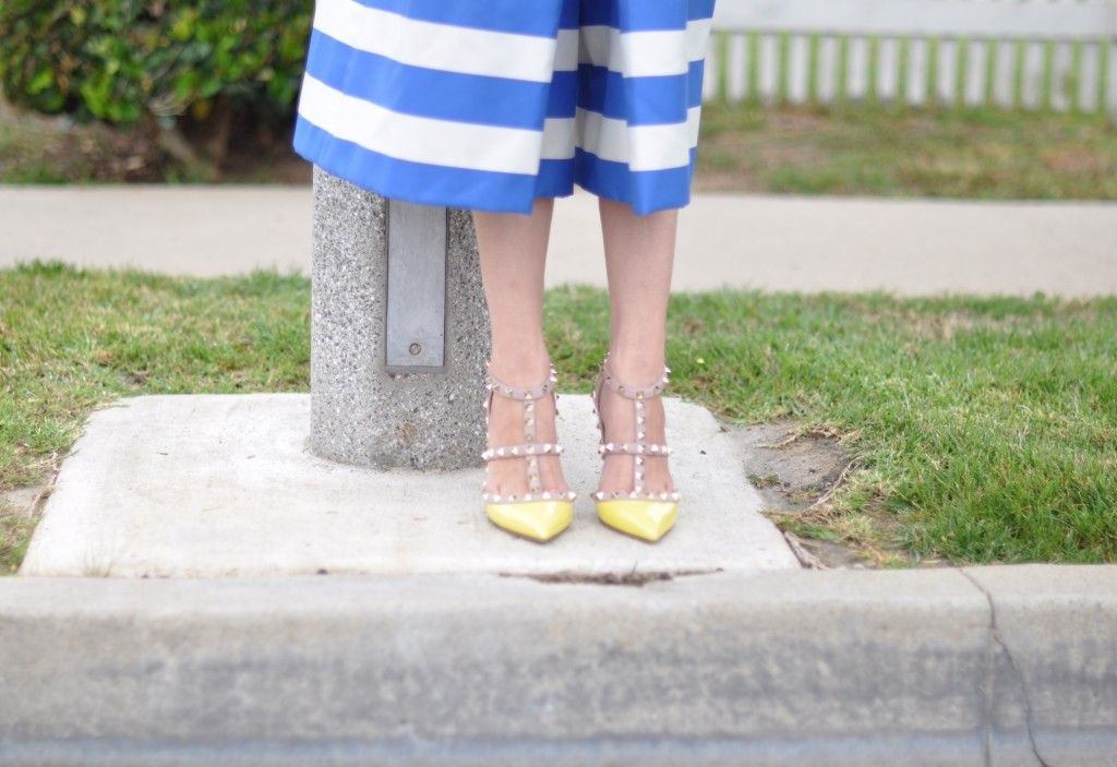 yellow rockstud pumps