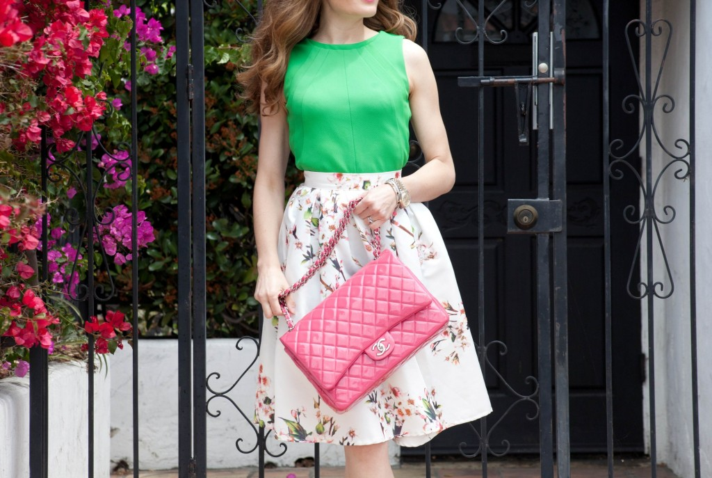 pink Chanel floral midi