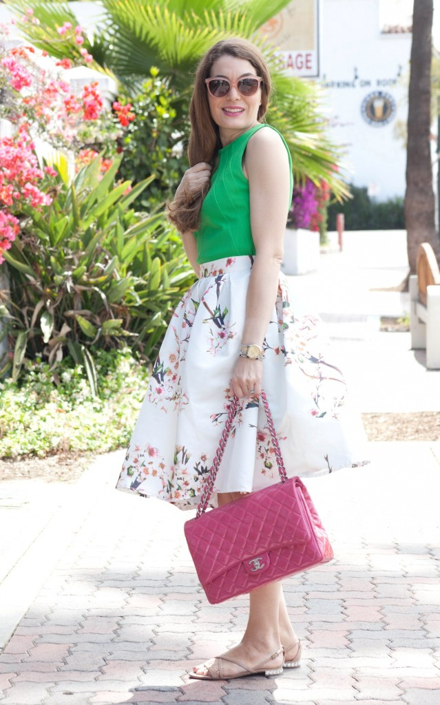 pink chanel and floral midi