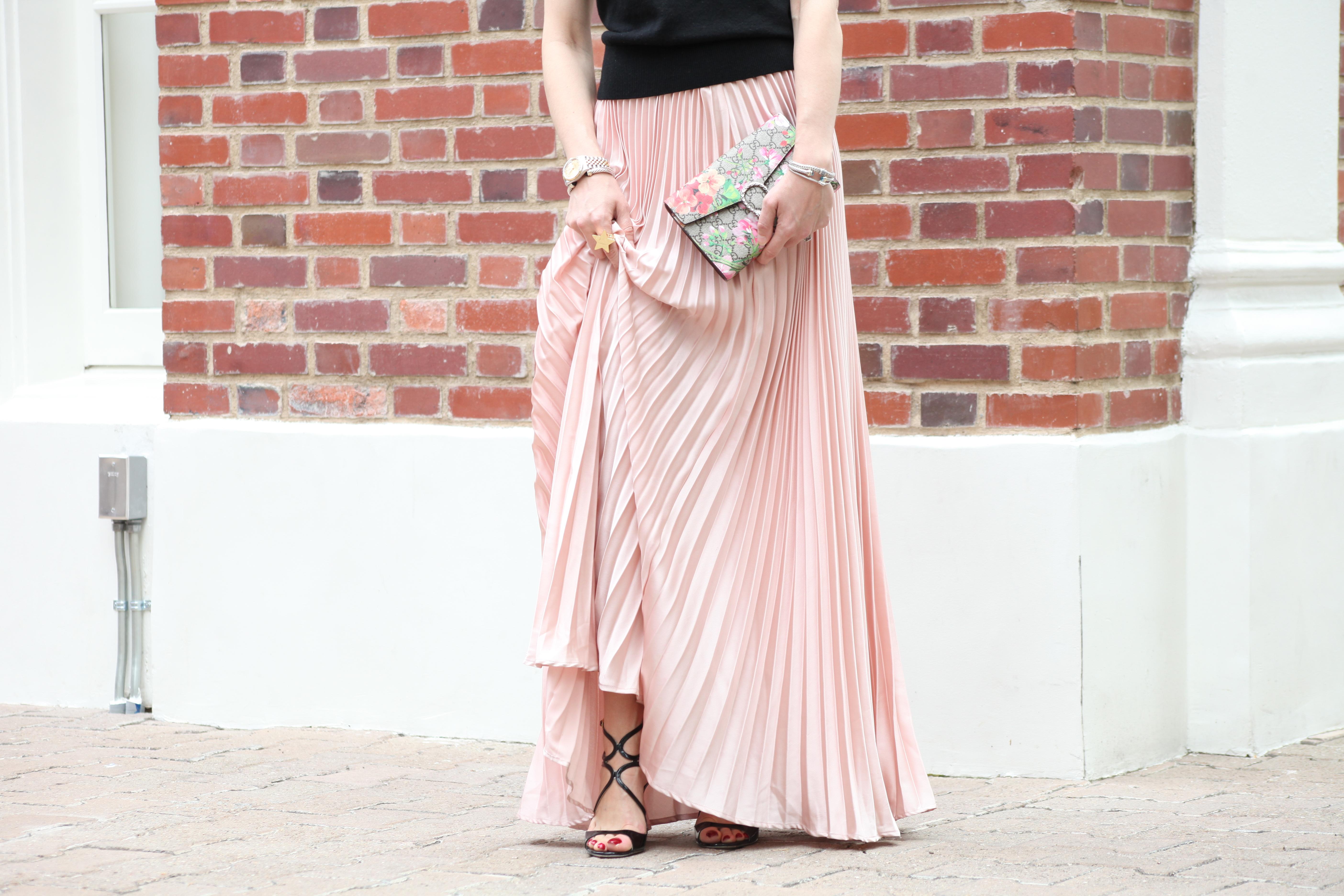 pleated maxi skirt in blush high heels tutus